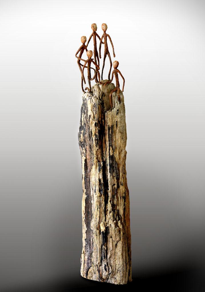 bois flotté, acier, poudre de marbre, patine 110x22x20 cm