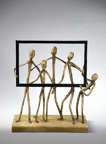 Sculpture bois, acier, papier,acrylique et patine (38x32x15 cm) VENDU